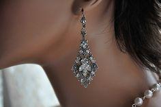 Bridal Earrings,Swarovski Crystal CLEAR Earrings,Vintage Style Earrings,Wedding Earrings,Antique Silver,PORCHE