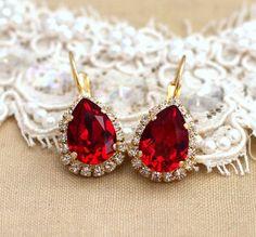Red Ruby Crystal teardrop hook earrings Crystal - 14k plated gold earrings real Swarovski rhinestones .