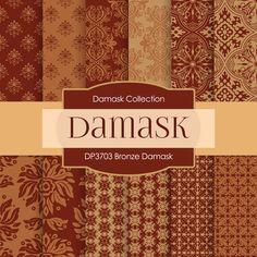 Bronze Damask Digital Paper DP3703 - Digital Paper Shop - 1