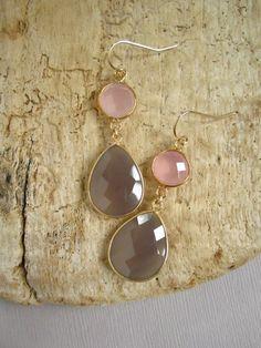 Gray Chalcedony Rose Quartz Double Drop Earrings by julianneblumlo, $98.00