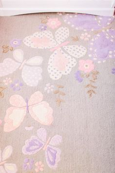 Pink Butterfly Themed Baby Girl Nursery Room Pink Purple Rug With Flowers