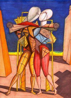 Giorgio De Chirico  Gli addii di Ettore e Andromaca, 1931  olio su tela, 60x30 cm  Roma, Galleria Nazionale di Arte moderna e contemporanea