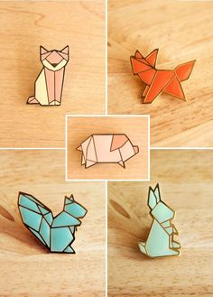 origami animal pins - Wood or acrylic inlays into wood or metal (though Mold Max 60 molds) outlines Stained Glass Projects, Stained Glass Art, Stylo 3d, Ideas Joyería, Shrink Art, Laser Cut Jewelry, Origami Paper, Diy Origami, Pin And Patches