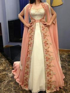 Nov 2019 - Lehenga with Peplum Top - AwesomeLifestyleFashion Yellow and White This look here is awesome for casual traditional party look or attending a Wedd… Medieval Fashion, Medieval Dress, Indian Wedding Outfits, Indian Outfits, Indian Gowns Dresses, Evening Dresses, Indian Designer Outfits, Designer Dresses, Fantasy Dress