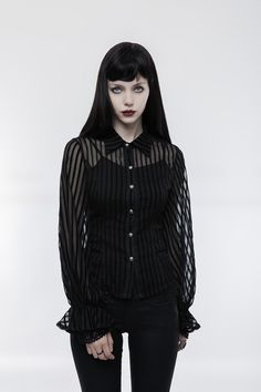 transparent striped punk shirt steampunk blouse
