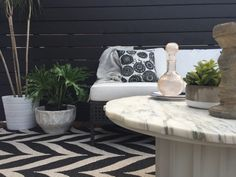 black + white patio