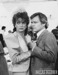 "Cliff and Sue Ellen (Ken Kercheval, Linda Gray) share an eye-raising dance in this 1982 publicity shot from ""Post Nuptial,"" a sixth-season ""Dallas"" episode. Read more at DallasDecoder.com."