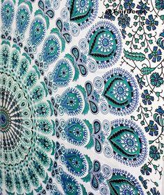 Hippy Throw Mandala Peacock Tapestry Indian Wall by fairdecor