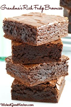 Grandma's Old-Fashioned Rich Fudge Brownies by WickedGoodKitchen.com ~ Fudgy, rich and chewy with an incredibly moist interior and a shiny, crackly, flaky top—everything a classic brownie should be. The old-fashioned way or the newfangled way, you will surely love this classic family recipe dating back to WWII! #bar #chocolate #dessert #recipe