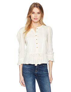 31452e7640c21 Lucky Brand Women's Prairie Peplum Top in Eggshell, at Amazon Women's  Clothing store: