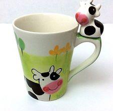 Indra COW Hand Painted Fine Stoneware Cow Coffee Mug Cup Tea Ceramic Thailand