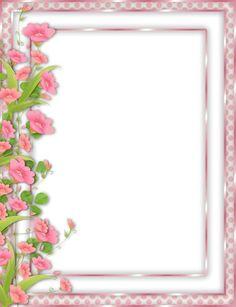 Pink PNG Frame with left side flower border Page Borders Design, Border Design, Frame Background, Paper Background, Png Floral, Molduras Vintage, Boarders And Frames, Printable Frames, Birthday Frames