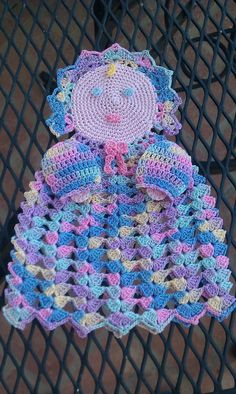 Hand crocheted doll  wall decor  party favor by smileyface21, $15.00