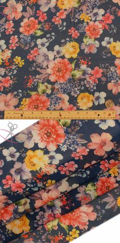 Large and medium sized flowers of all types decorate this print on top of a crisp, navy background. Hi Multi Chiffon is a lightweight, stylish and free flowing fabric. It is a great material for layered dresses, blouses, scarves, wraps, DIY hairpieces, even chair decorations and much more!