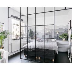 Gravity Home: How to divide a studio apartment with a glass wall Bedroom Nook, Apartment Bedroom Decor, Apartment Interior, Apartment Design, Home Bedroom, Apartment Layout, Apartment Living, Studio Apartment Divider, Rent Apartment