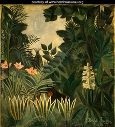 Title:The Equatorial Jungle  Painted by:Henri Julien Rousseau  Year:1909