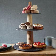 Slate and wood dessert tray