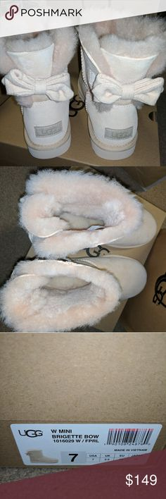 Ugg Australia boots Brigette mini bows NIB cream boots with bow.  Cute and comfy size 7 UGG Shoes Winter & Rain Boots