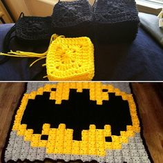 Batman pixel crochet blanket by snozzberryjuice