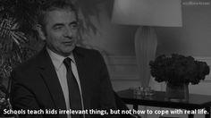 """""""Las escuelas enseñan cosas irrelevantes, pero no como enfrentarse a la vida real."""" Le Words, Mr Bean, Despicable Me, Words Worth, Depression Quotes, Spanish Quotes, Rowan, The Voice, True Stories"""