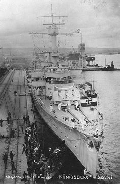 Königsberg at Gotenhafen, Germany (Gdynia, Poland), circa 1935; photo 1 of 5. In 1938 Gdynia was the biggest and best seaport on the Baltic Sea, as developed by Poland.   Gdynia was occupied September 1939 by German troops, renamed Gotenhafen and transformed into a German naval base.