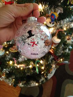 "DIY Christmas Ornament for kids - we used thumb prints to make the reindeer head & body and 3 pointer-finger, finger prints to make the snowman body. Mom or dad can fill in the details. I filled the glad globe w/""snow"" I found it w/the ornaments at the craft store."