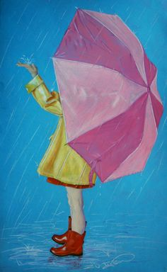 in 2019 дождливые дни, картины, дождь. Umbrella Painting, Rain Painting, Umbrella Art, Painting For Kids, Rainy Day Drawing, Illustrations, Illustration Art, Rain Art, Rain Photography