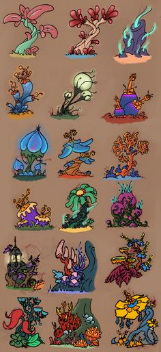 Here's a bunch of plants I sketched a while back. I decided to quickly color them tonight.