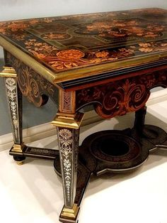 Table attributed to Andre-Charles Boulle 1680-1690 French Oak Fruit wood pewter brass copper horn and tortoise shell