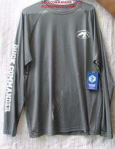 e71555585a ... fabric polyester Small Duck Commander logo on the chest Large logo on  back with screen-printing on sleeve Blocks harmful UV rays at UPF COLOR   CHARCOAL