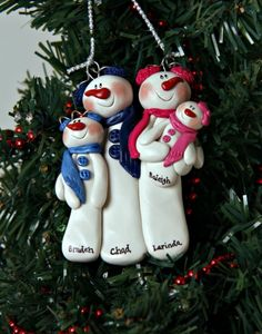 find polymerclay christmas ornaments | Personalized Snowman Family Polymer Clay by MISTYSCLAYCUTIES