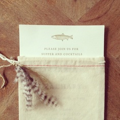 custom invites for fish fry with muslin bags and fly ties