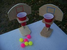 Beer pong basketball handmade table top game drinko wooden game ping pong tailgating game fun for all ages family and friends diy games Babysitting Activities, Activities For Kids, Crafts For Kids, Fun Games For Kids, Kids Fun, Diy Games, Party Games, Basketball Games For Kids, Basketball Goals