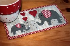 Red Elephants Mug Rug