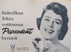Mainos: Pepsodent 1958 Old Advertisements, Advertising, Amy Tan, Old Ads, Iconic Women, Vintage Ads, Finland, Childhood Memories, Emoji