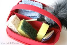 "Make this doll size cleaning tote and all the supplies to fill it up!  Just the right size for 18"" dolls!"