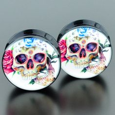 Flower Skull Acrylic Plugs