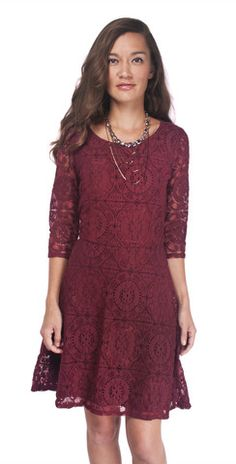 The Vera Lace Dress is a great, modest party dress in a gorgeous color.