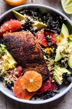 Glowing Citrus, Avocado, and Blackened Salmon Salad | http://halfbakedharvest.com /hbharvest/