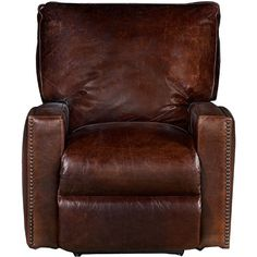 """Antique"" 44"" Brown Leather Power Recliner"