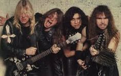 Slayer was formed in 1981, by Los Angeles schoolmates and guitarists Jeff Hanneman and Kerry King. Tom Araya soon joined on bass and vocals, and drummer Dave Lombardo joined last in 1982. They played in a style reminiscent of early Exodus, influenced heavily by Iron Maiden and Judas Priest, before their attendance at a mid-1982 Metallica concert convinced them to play faster and heavier.