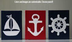 Nautical Nursery Decor Nautical Painting Bathroom Decor Nautical Art Sailboat Anchor Ship's Wheel Steering Navy Red White Nursery Decor