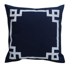 greek key pillowcase navy