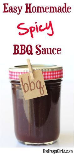 - The Frugal Girls - Spicy BBQ Sauce Recipe! Such an Easy Homemade sauce! Skip the store bought Barbecue sauces and make your own at home! SO simple and perfect for chicken, steak, or burgers! Spicy Barbecue Sauce Recipe, Easy Bbq Sauce, Barbeque Sauce, Bbq Sauces, Barbecue Burgers, Homemade Bbq, Homemade Sauce, Homemade Recipe, Homemade Gifts