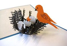 Mother's Day pop up card Mama bird in a nest by LovePopCards