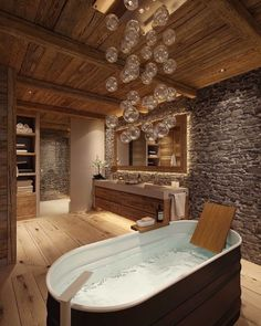 Creative Chalet style of interior decorating ideas Chalet Design, Chalet Style, Dream Bathrooms, Amazing Bathrooms, Coolest Bathrooms, Bathroom Interior Design, Interior Decorating, Decorating Ideas, Decor Ideas