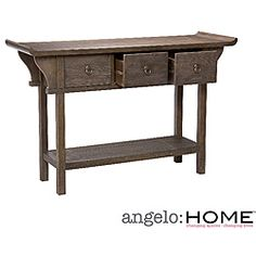 @Overstock - Add functional elegance to your home with this angelo:HOME Kara ash sofa table that features a gorgeous mix of vintage style with Oriental influences. The three drawers give concealed storage, while the open shelf at the bottom offers display space.http://www.overstock.com/Home-Garden/angelo-HOME-Kara-Sofa-Table/6002314/product.html?CID=214117 $237.86
