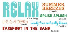 """Scrapbooking Themes Quickstart: Beach Images, Sayings and Fonts  Making a Beach page? Use these """"quickstarts"""" to get ideas for your page motifs, embellishments, wordart, titles, and fonts."""