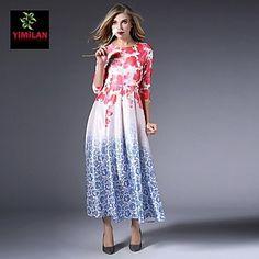 YIMILAN®+Women's+The+New+Spring+And+Summer+2015+Hot+Fashion+Printing+Long+Dress+–+USD+$+62.00