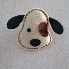 Beige felt dog brooch/ pin/ accessory by TheCraftyblackcat on Etsy